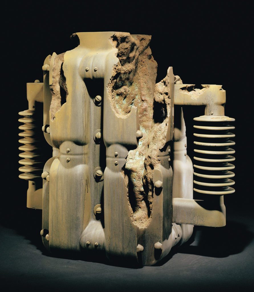 "<strong>D-Industry (1995)</strong><br> 26""Hx26""Wx15""D<br> Oil Painted Ceramic<br> -- Collection: Museum Of Art And Design, New York, NY"