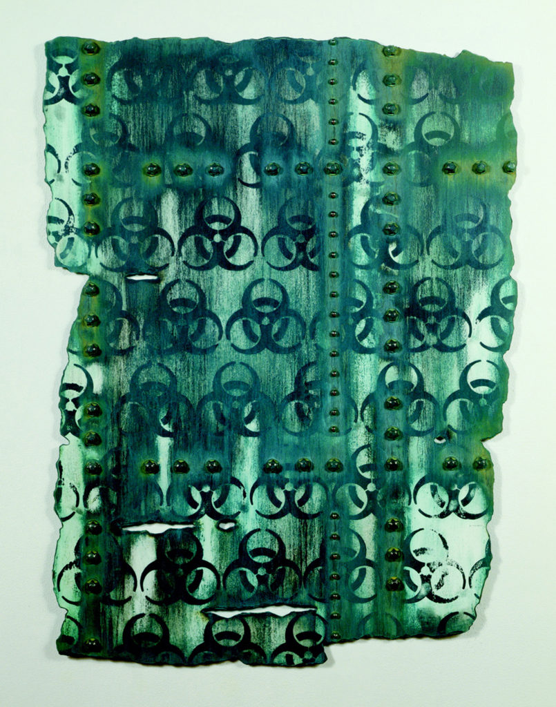 "<strong>Green Hazard (2009)</strong><br>  40""Hx30""Wx1""D<br> Oil, Ink, Glazed Ceramic on Paper"