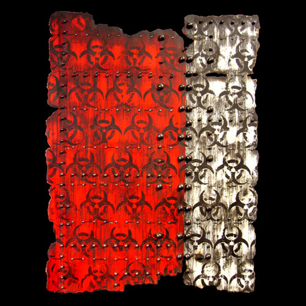 "<strong>Red Hazard (2008)</strong><br> 40""Hx30""Wx1""D<br> Oil, Ink, Glazed Ceramic on Paper"
