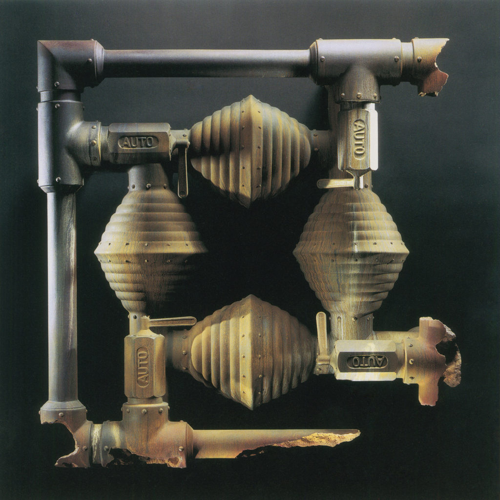 "<strong>Quadrus (1996)</strong><br> 40""Hx40""Wx16""D<br> Oil Painted Ceramic<br> -- Collection: Everson Museum Of Art, Syracuse, NY"