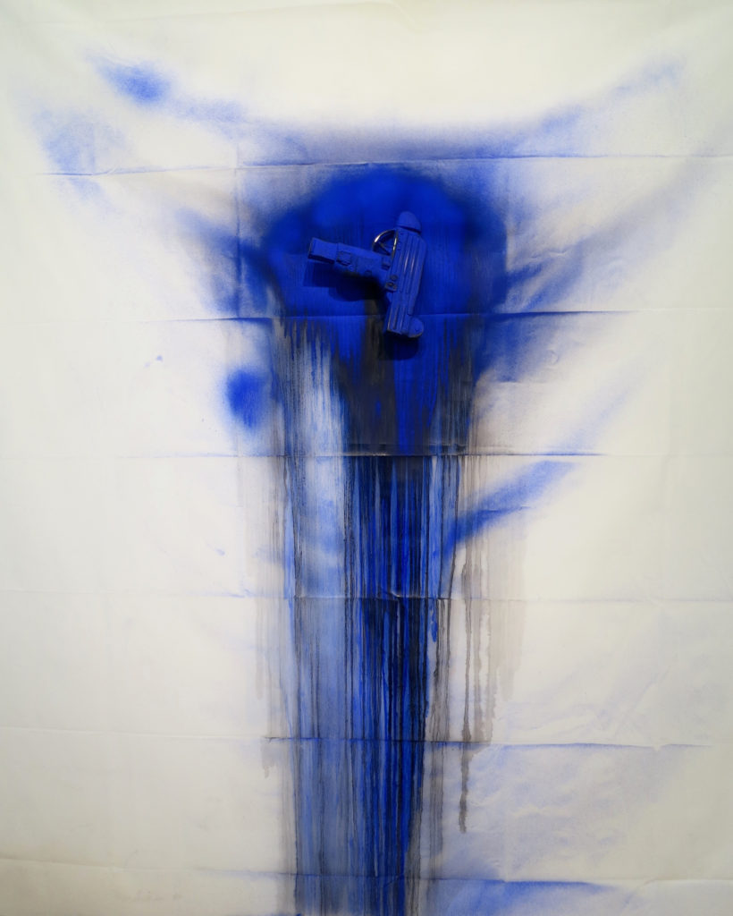 "<strong>Blue Blood #1 (2015)</strong><br> 60""Hx40""Wx4""D<br> Oil Paint on Vinyl Shower Curtain, Glazed Ceramic"
