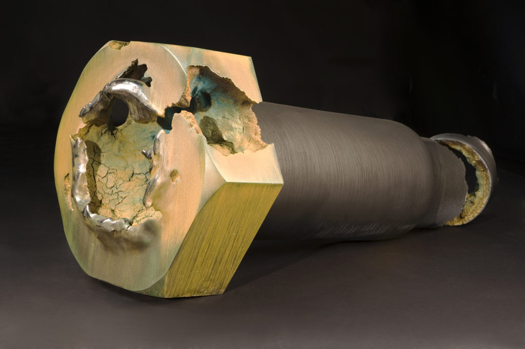 "<strong>Structural Bolt, Hollow Core (2006)</strong><br> 25""Hx64""Wx27""D<br> Oil Painted, Glazed Ceramic"
