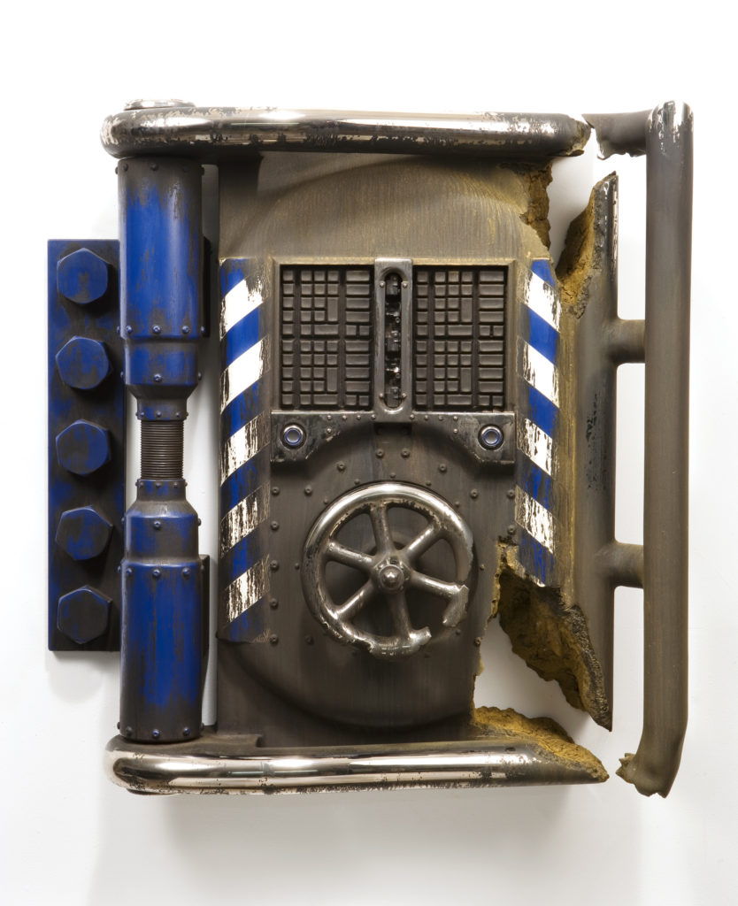"<strong>Security Breach #2 (2002)</strong><br> 33""Hx30""Wx8""D<br> Oil Painted, Glazed Ceramic<br> -- Collection: Taipei City Yingge Ceramics Museum, Taipei, Taiwan"