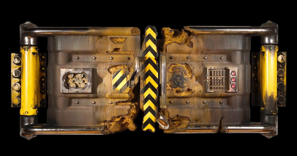 "<strong>Yellow Hazard (2004)</strong><br> 31""Hx71""Wx11""D<br> Oil Painted, Glazed Ceramic<br> -- Collection: Crocker Art Museum, Sacramento, CA"