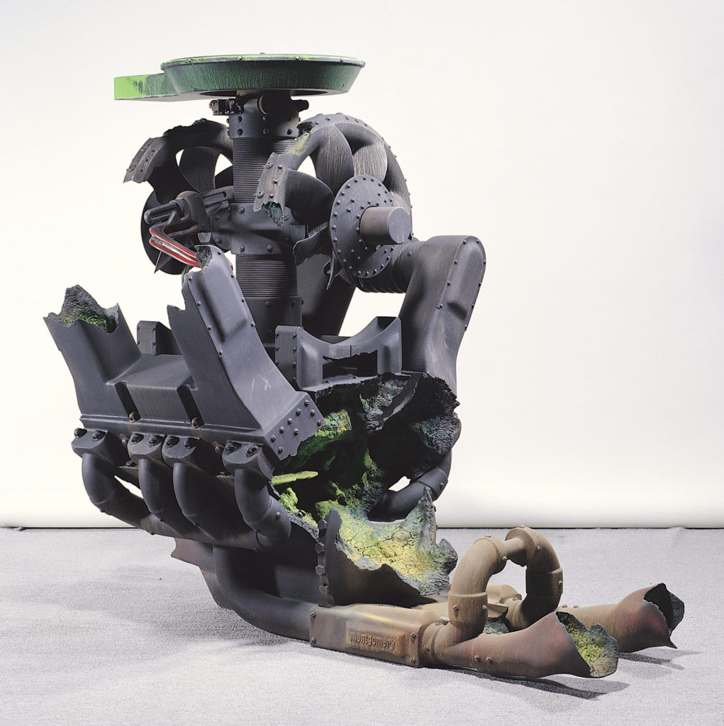 "<strong>Static Fuel #2 (2001)</strong><br> 45""Hx45""Wx59""D<br> Oil Painted Ceramic<br> -- Collection: Taipei City Yingge Ceramics Museum, Taipei, Taiwan"